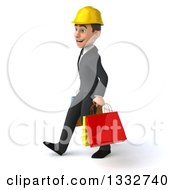 Clipart Of A 3d Young White Male Architect Walking To The Left And Holding Shopping Bags Royalty Free Illustration
