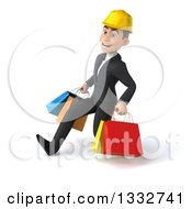 Clipart Of A 3d Young White Male Architect Speed Walking To The Left And Holding Shopping Bags Royalty Free Illustration