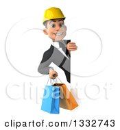 Clipart Of A 3d Young White Male Architect Holding Shopping Bags Around A Sign Royalty Free Illustration