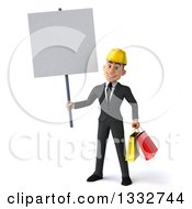 Clipart Of A 3d Young White Male Architect Holding Shopping Bags And A Blank Sign Royalty Free Illustration