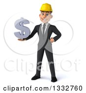 Clipart Of A 3d Young White Male Architect Holding A Dollar Symbol Royalty Free Illustration by Julos