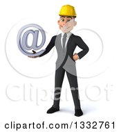 3d Young White Male Architect Holding An Email Arobase At Symbol