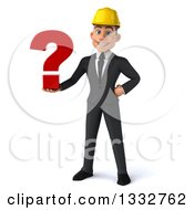 Clipart Of A 3d Young White Male Architect Holding A Question Mark Royalty Free Illustration by Julos