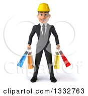 Clipart Of A 3d Young White Male Architect Holding Shopping Bags Royalty Free Illustration