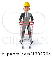 Clipart Of A 3d Young White Male Architect Standing With A Shopping Cart Royalty Free Illustration