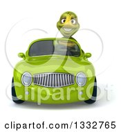 3d Tortoise Driving A Green Convertible Car