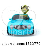 Clipart Of A 3d Bespectacled Tortoise Driving A Blue Convertible Car Royalty Free Illustration