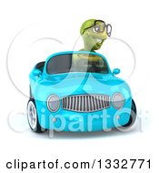 Clipart Of A 3d Bespectacled Tortoise Driving A Blue Convertible Car 2 Royalty Free Illustration