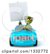 Clipart Of A 3d Bespectacled Tortoise Holding A Blank Sign And Driving A Blue Convertible Car Royalty Free Illustration