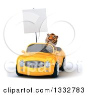 Clipart Of A 3d Tiger Holding A Blank Sign And Driving A Yellow Convertible Car Royalty Free Illustration