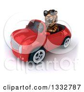 Clipart Of A 3d Tiger Wearing Sunglasses And Driving A Red Convertible Car 3 Royalty Free Illustration