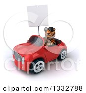 Clipart Of A 3d Tiger Wearing Sunglasses Holding A Blank Sign And Driving A Red Convertible Car Royalty Free Illustration
