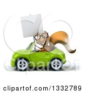 Clipart Of A 3d Bespectacled Squirrel Holding A Blank Sign And Driving A Green Convertible Car Royalty Free Illustration