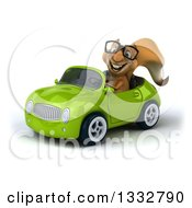 Clipart Of A 3d Bespectacled Squirrel Driving A Green Convertible Car Royalty Free Illustration