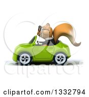 Clipart Of A 3d Bespectacled Business Squirrel Driving A Green Convertible Car Royalty Free Illustration