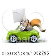 Clipart Of A 3d Bespectacled Business Squirrel Holding A Blank Sign And Driving A Green Convertible Car Royalty Free Illustration