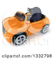 Clipart Of A 3d Bespectacled Penguin Driving An Orange Convertible Car 3 Royalty Free Illustration