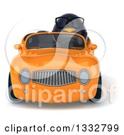 Clipart Of A 3d Bespectacled Penguin Driving An Orange Convertible Car Royalty Free Illustration