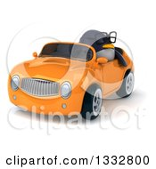 Clipart Of A 3d Bespectacled Penguin Driving An Orange Convertible Car 2 Royalty Free Illustration