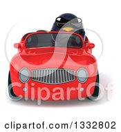 Clipart Of A 3d Penguin Wearing Sunglasses And Driving A Red Convertible Car Royalty Free Illustration