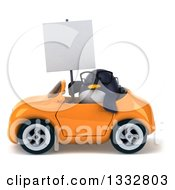 Clipart Of A 3d Bespectacled Penguin Holding A Blank Sign And Driving An Orange Convertible Car Royalty Free Illustration
