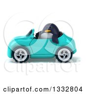 Clipart Of A 3d Penguin Driving A Turquoise Convertible Car Royalty Free Illustration