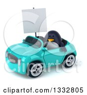 Clipart Of A 3d Penguin Holding A Blank Sign And Driving A Turquoise Convertible Car Royalty Free Illustration