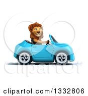 Clipart Of A 3d Male Lion Driving A Blue Convertible Car 2 Royalty Free Illustration