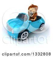 Clipart Of A 3d Male Lion Roaring And Driving A Blue Convertible Car Royalty Free Illustration