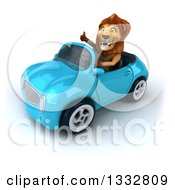 Clipart Of A 3d Male Lion Giving A Thumb Up And Driving A Blue Convertible Car Royalty Free Illustration