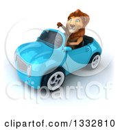 Clipart Of A 3d Male Lion Giving A Thumb Down And Driving A Blue Convertible Car Royalty Free Illustration