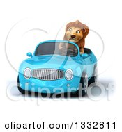 Clipart Of A 3d Male Lion Driving A Blue Convertible Car Royalty Free Illustration
