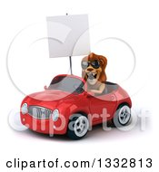 Clipart Of A 3d Male Lion Wearing Sunglasses And Driving A Red Convertible Car And Holding A Blank Sign Royalty Free Illustration