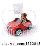 Clipart Of A 3d Male Lion Wearing Sunglasses And Driving A Red Convertible Car And Holding A Blank Sign 2 Royalty Free Illustration