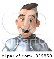 Clipart Of A 3d Excited Caucasian Male Armored Knight Avatar Royalty Free Illustration