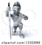 Clipart Of A 3d Armored Knight Kneeling Pointing And Holding A Sword Royalty Free Illustration