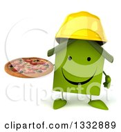 Clipart Of A 3d Happy Green House Contractor Character Holding A Pizza Royalty Free Illustration