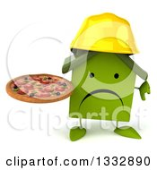 Clipart Of A 3d Unhappy Green House Contractor Character Giving A Thumb Down And Holding A Pizza Royalty Free Illustration