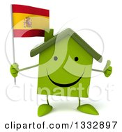 Clipart Of A 3d Happy Green House Character Giving A Thumb Up And Holding A Spanish Flag Royalty Free Illustration