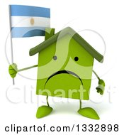 Clipart Of A 3d Unhappy Green House Character Holding An Argentine Flag Royalty Free Illustration