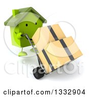Clipart Of A 3d Happy Green House Character Pushing Boxes On A Dolly Royalty Free Illustration
