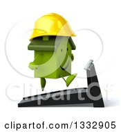 Clipart Of A 3d Happy Green House Character Contractor Facing Right And Running On A Treadmill Royalty Free Illustration