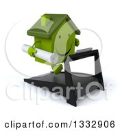 Clipart Of A 3d Happy Green House Character Holding Blueprints Facing Right And Running On A Treadmill Royalty Free Illustration