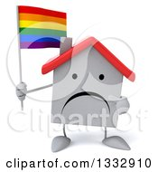 Clipart Of A 3d Unhappy White House Character Holding And Pointing To A Rainbow Flag Royalty Free Illustration