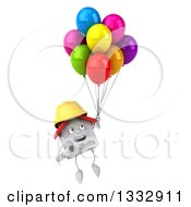 Clipart Of A 3d Happy White House Contractor Character Floating With Party Balloons Royalty Free Illustration