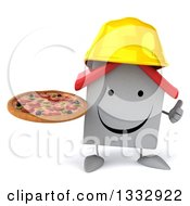 Clipart Of A 3d Happy White House Contractor Character Holding A Pizza And Giving A Thumb Up Royalty Free Illustration