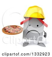 Clipart Of A 3d Unhappy White House Contractor Character Holding A Pizza Royalty Free Illustration
