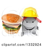Clipart Of A 3d Happy White House Contractor Character Holding Up A Double Cheeseburger Royalty Free Illustration