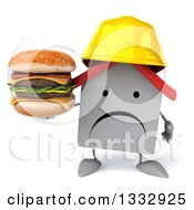 Clipart Of A 3d Unhappy White House Contractor Character Holding A Double Cheeseburger Royalty Free Illustration