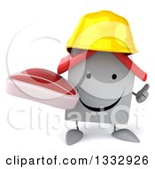 Clipart Of A 3d Happy White House Contractor Character Giving A Thumb Up And Holding A Beef Steak Royalty Free Illustration
